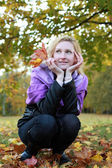 Woman with leaf 2 — Stock Photo