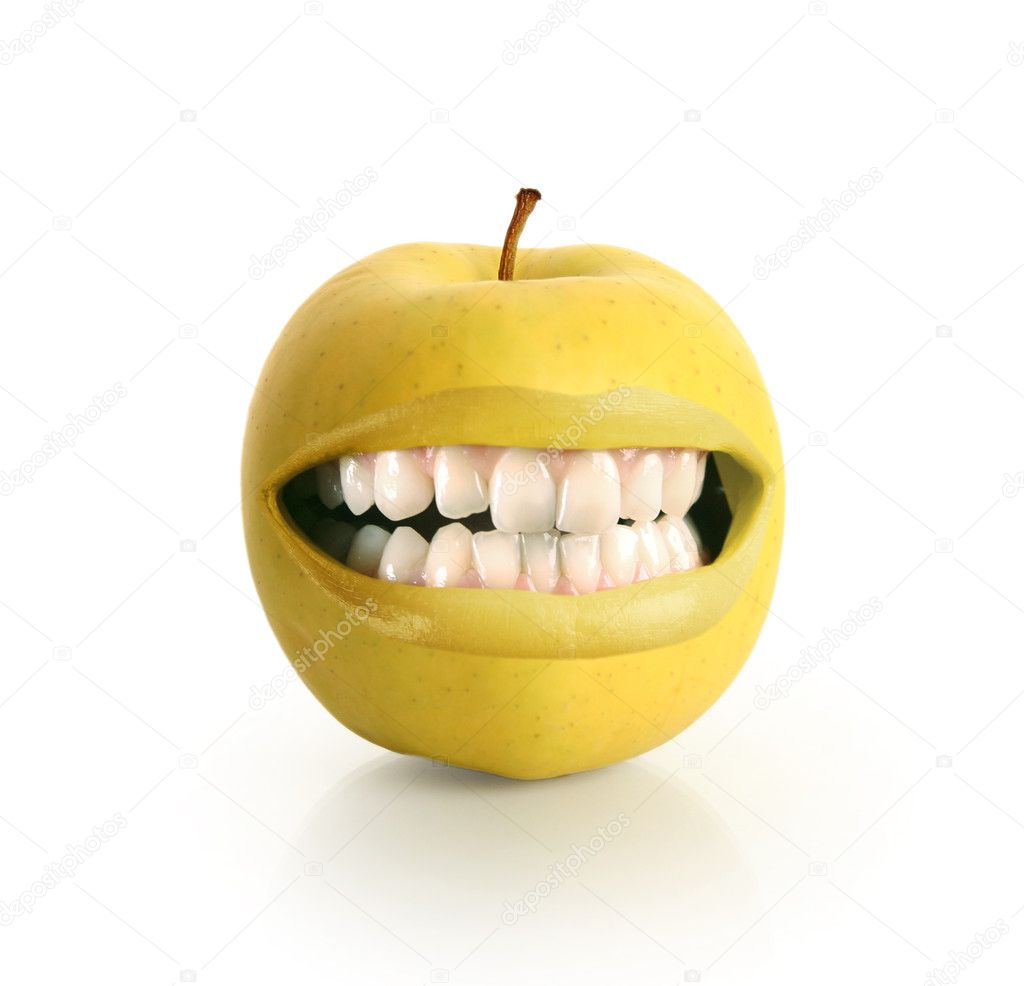 Happy fresh yellow apple — Foto Stock #6634662