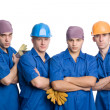 Friendly young team of construction workers — Stock Photo
