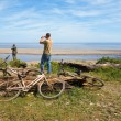 Cyclists on a deserted coast — Stock Photo #5746695