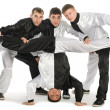 Portrait of a team of young break dancers — Stock Photo