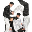 Portrait team of young break dancers — Stock Photo