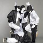 Portrait team of young break dancers — Stock Photo