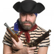 Stock Photo: Terrible bearded pirate in tricorn hat