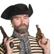 Pirate in tricorn hat with a muskets - Foto de Stock
