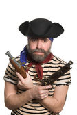 Terrible bearded pirate in tricorn hat — Stock Photo
