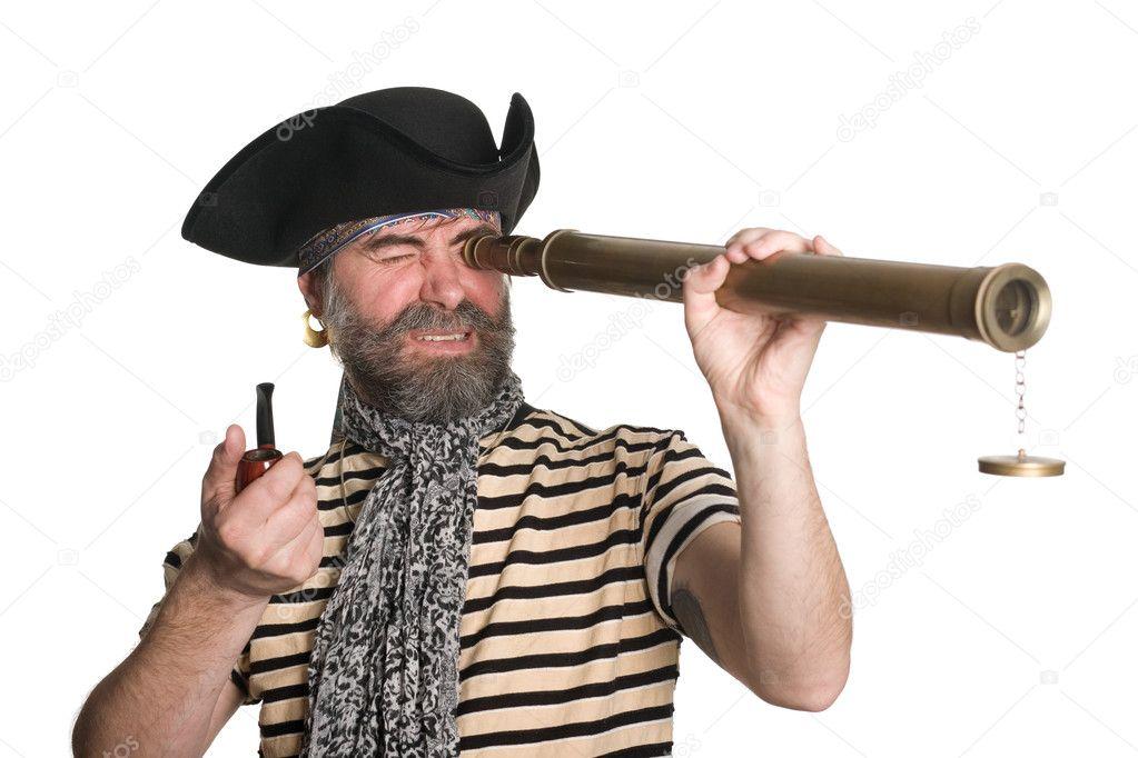 pirate looks through a telescope � stock photo 169 stask