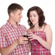 Guy proposes to his girlfriend drink — Foto Stock