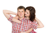 Happy young couple in love embrace. — Stock Photo