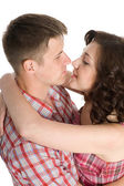 Lucky girl and guy — Stock Photo