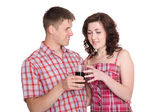 Guy proposes to his girlfriend drink — Stock Photo