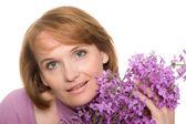 Portrait woman with wildflowers. — Stock Photo