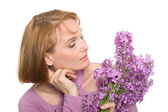 Portrait woman with wild flowers — Stock Photo