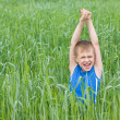 Boy screaming in the grass — Stock Photo #5970468