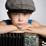 Boy with accordion. — Stock Photo