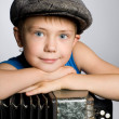 Smiling boy with accordion — Stock Photo