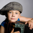 Smiling boy and accordion — Stock Photo