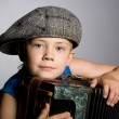 Smiling boy and accordion — Stock Photo #6395328