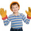 Stock Photo: Joyful boy in the construction helmet