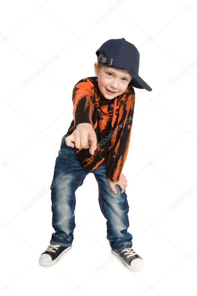 Boy shows his index finger at the camera.  — Stock Photo #6395374