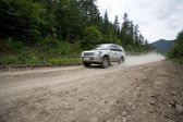 Rally on a dirt road — Stock Photo