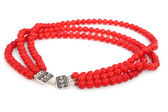 Elegant coral necklace with shallow dof — Stock Photo