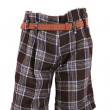 Female checkered trousers with belt - Photo
