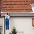 Stock Photo: Mon ladder climbing on roof