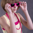 Teenage girl with sunglasses — Photo