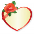 Vector red heart with rose and shadow — Stock Vector