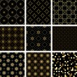 Set of vector black geometric  seamless  textures with golden el — Stock Vector