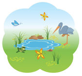 Vector illustration of nature with blue lake — Stock Vector