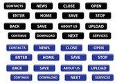 Zestaw wektor przyciski prostokątny czarny i niebieski — Wektor stockowy