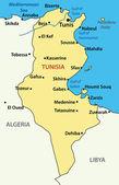 Vector illustration - map of Tunisia. — Stock Vector