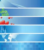Set - vector banderas azules ligeros — Vector de stock