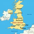 Vector illustration - map of the United Kingdom of Great Britain — Stock vektor