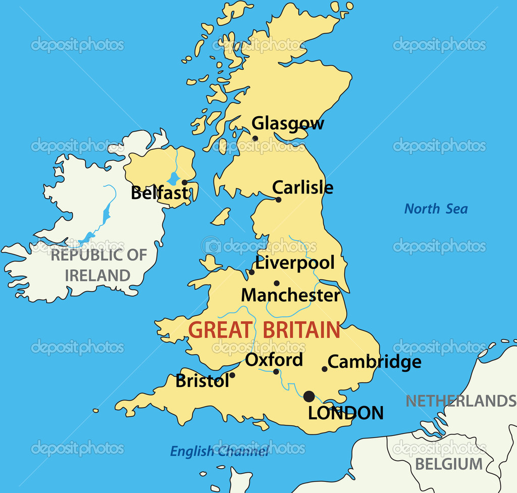 Vector Illustration Map Of The United Kingdom Of Great