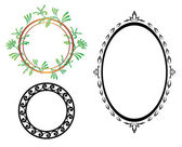 Set - vector oval and round frames — Stock Vector