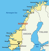 Vector map of Norway. Source: http://www.wordtravels.com/Trave — Stockvektor