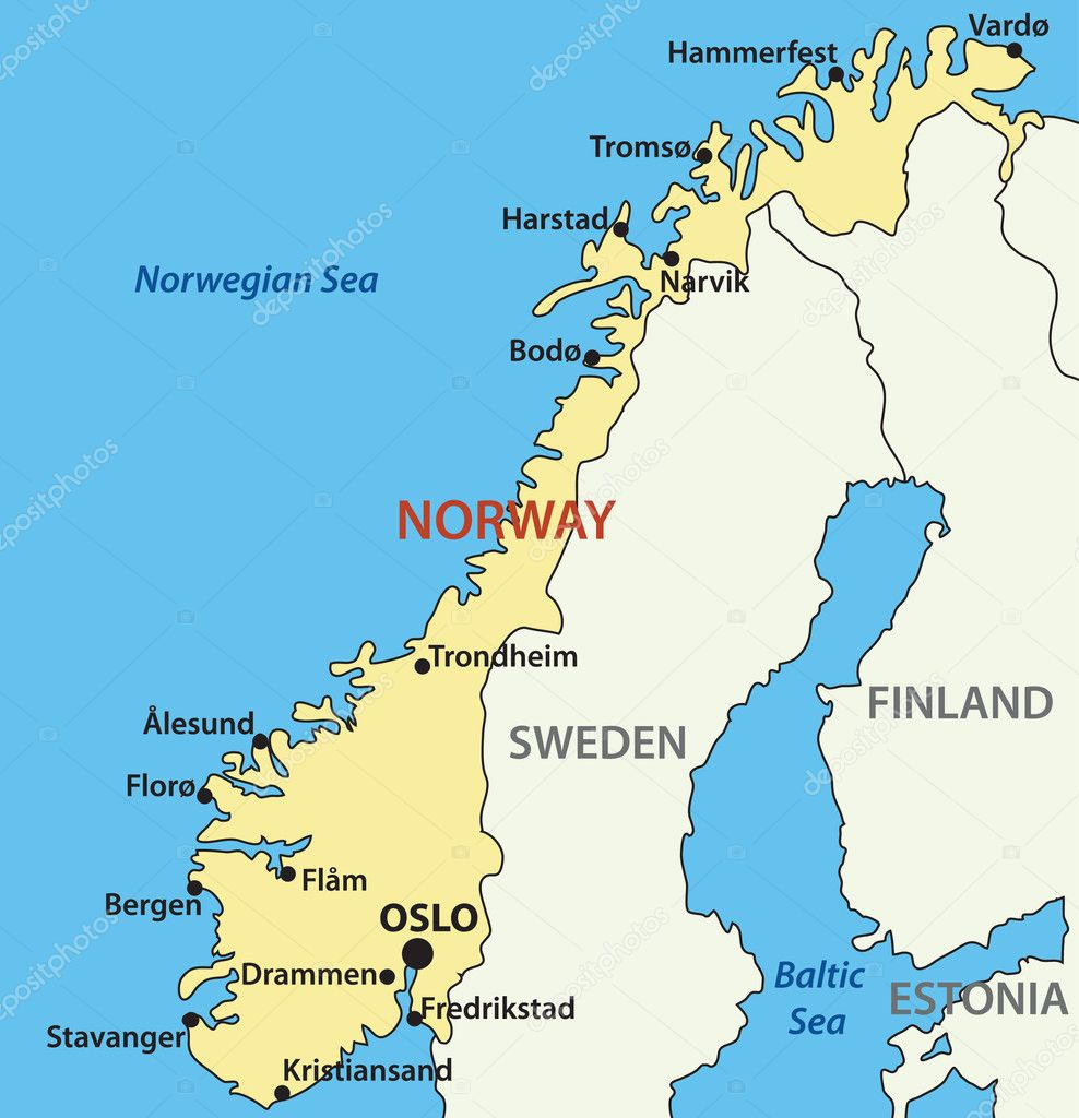 Vector map of Norway.  Source:  http://www.wordtravels.com/Travelguide/Countries/Norway/Map — Stock Vector #6208985