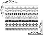 Set - vector black decorative borders — Stock Vector