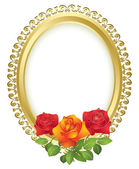Oval golden frame with roses - vector — Stock Vector