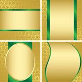 Golden decorative cards - set - vector — Stock Vector