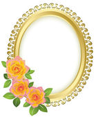 Golden oval frame with flowers - vector — Stock Vector