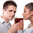 Drinking tea man and woman — Stockfoto