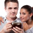 Stock Photo: Drinking tea man and woman