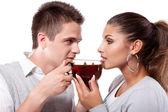 Drinking tea man and woman — Stock Photo