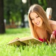 Woman in the park with book — Stock Photo #6037075