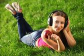 žena se sluchátky — Stock fotografie