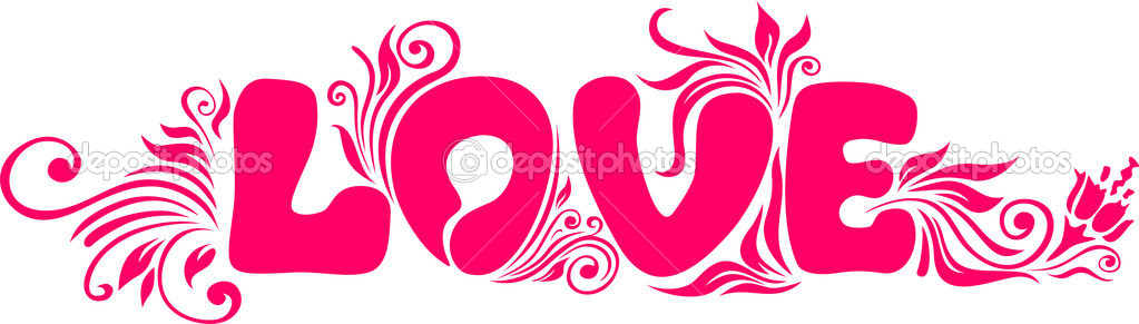 The word love and floral designs on white background  Stock Vector #5544939